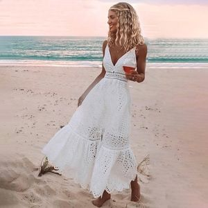 Boho V-Neck Long White Fit & Flared Cami Dress